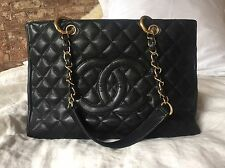 Authentic CHANEL Black and Gold Grand Shopper Caviar Leather Large Tote Bag