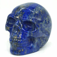 "Skull Figurine 2"" Natural Gemstone Lapis Crystal Healing Home Decor 3328"