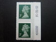 GB 2p deep green Machin with 'M16L' code date / sheet number pair S.G. U2921