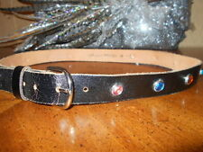 Ladies Black Leather Belt, embellished with 14 colored stones-SZ Medium-Large