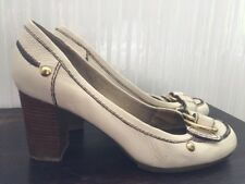 Nine West Womens Cream Leather Heels Size 9M UK 7