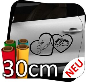 30cm Just Married Hochzeit Heiraten Herz Autoaufkleber Aufkleber Sticker No.6