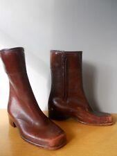 Vintage 60s 70s Brown Square Toe Rubber Vegan Rain Boots Retro Rockabilly Mod 7