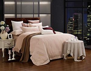 Queen Duvet Cover Set - 6 Piece Jacquard - 100% Cotton Dolce Mela Bedding DM470Q