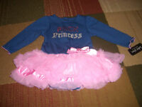 Baby Glam Rock Princess Bodysuit Infant Girl Dress Skirted Creeper 6M Free Ship