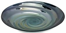 "17.5"" Tray Large Charger Plate Ocean Blue Shimmering Swirl Glass Bowl Food Safe"