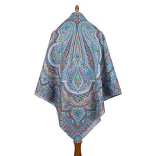 1566-14 AUTHENTIC PAVLOVO POSAD SHAWL RUSSIAN SCARF 100% COTTON DRESS WRAP 146cm