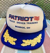 Vtg MadHatter Monroe OH Patriot Truck Driver Truckers Mesh Snapback Hat Cap Leaf