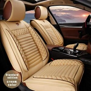 for Mercedes-Benz Universal 5-Seats Car Seat Covers PU Leather All Season Beige