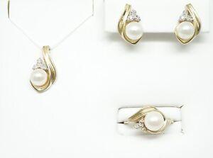 14K Yellow Gold Freshwater Cultured Pearl & Diamond Ring, Earrings & Pendant Set