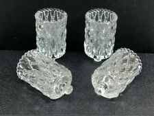 Set Of 4 Crystal Quilt Pattern Peg Votive Cup Candle Holders