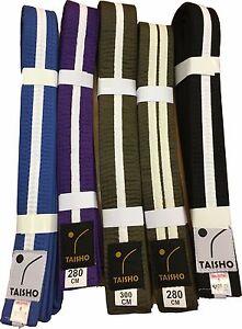 COLOURED BELTS with WHITE STRIPE Judo, Karate, Kickboxing, MMA, Taekwondo