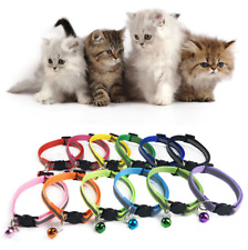 x2 Anti-Choke Safety Release Cat Collar Hi-Vis Adjustable Pet Bell Reflective UK