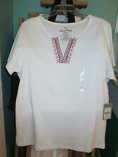 NWT Coral Bay Womans White Short Sleeve Embroidered Split Neck 100% Cotton Top L