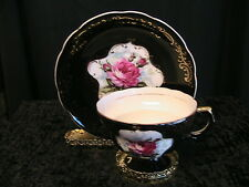 VINTAGE PINK ROSE ON BLACK GOLD FILLIGREE CUP~SAUCER~BONE CHINA~EXTRA RARE