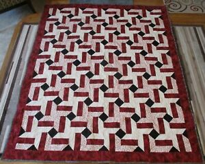 """New USA Made Twin/Full Size Quilt - Rail Fence Stars 66"""" x 80"""" Red Black Cream"""