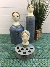 I Rice 3 pc Paper Mache Blue Vanity Lipstick Holder Toilet Roll Hair Spray
