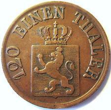 GERMANY.GERMAN STATES .HESSE-CASSEL .1864 .3 HELLER .CUIVRE.FRIEDRICH WILHELM