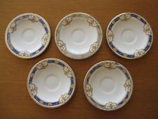 5 Vintage Wood & Sons Ceramic Tea Saucers Small Plates Gold & Blue 1930s - 1950s