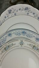 4 Vtg WHITE Blue Floral Mismatched China Dinner Plates, Shabby Chic Wedding DP10