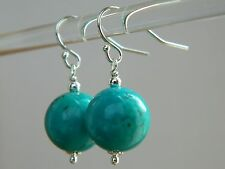 Large Turquoise Gemstones & 925 Sterling Silver Drop Elegant Handmade Earrings
