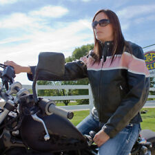 Women's Motorcycle Jacket SM Black Pink Buffalo Hide Allstate Leather AL2173 HB