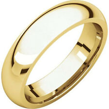 5mm 18K Solid Yellow Gold Plain Dome Half Round Comfort Fit Wedding Band Ring