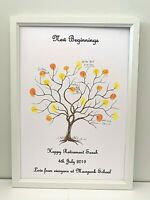 Christening /Retirement /Wedding Gift Keepsake Guest Book Print Fingerprint Tree