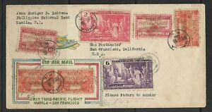 1935 Philippines Registered FFC Manila to San Francisco Cal. USA