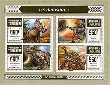 Togo 2015 neuf sans charnière dinosaures 4v m/s troodon ankylosaure Pachyrhinosaurus