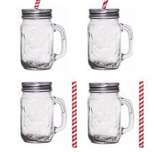 4PACK vetro MASON Jars confetture bere ESTATE COCKTAIL CON MANIGLIA PAGLIA 450ml