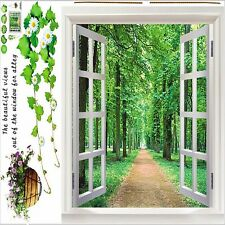 Large adhesive texture forest trees trail  Wall decal sticker 3D window View