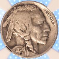 1924 D BUFFALO NICKEL, CHOICE FINE, NGC F12 , LOOKS GREAT, TOUGH EARLY DATE!