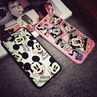 BLACK PINK MICKEY MOUSE SILICONE BACK CASE COVER FOR APPLE IPHONE 6 6S 7 8 PLUS