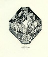 Nude, Dragon, Horse, Knight, Numbered Ex libris Etching by P. Rovegno, Italy