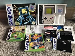 Nintendo Game Boy Grey In Original Box With 3 Games