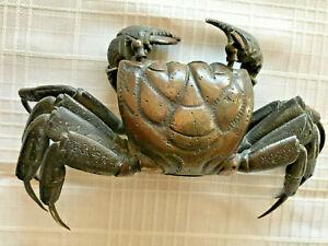 MEIJI Articulated Bronze Crab Japanese Jizai Okimono- Rare COMPLETE moveable!