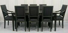 LAURA ASHLEY HENSHAW BLACK EXTENDABLE DINING TABLE WITH EIGHT CHAIRS