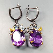 Handmade SET Natural Amethyst 925 Sterling Silver Earrings /E36472