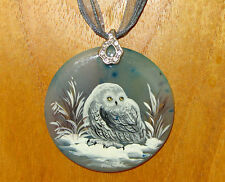Russian UNIQUE Hand Painted WHITE SNOWY OWL BIRD Black STONE Pendant signed GIFT