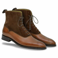 MEN HANDMADE SUEDE & LEATHER SHOES BROGUE BROGUE LACE UP FORMAL DRESS BOOTS