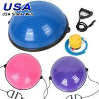 "24"" Yoga half Ball Balance Trainer Strength Exercise Yoga Fitness Workout + Pump"