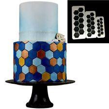 3pcs Hexagon Geometry Fondant Cookie Cutter Cake Mold Decorating Tools Baking CN