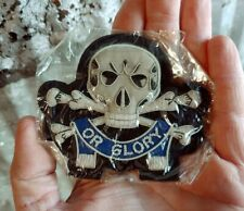 Vintage Death or Glory Metal Thread Embroidered Patch Motorcycle Tactical Skull