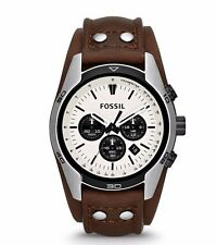 Fossil CH2890 Brown Leather Strap Steel Case Chronograph Coachman Watch