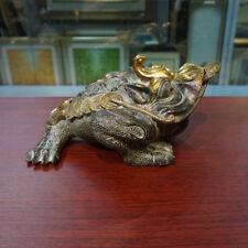 Chinese Folk Bronze Gilt Fengshui Wealth Money Yuanbao golden Toad Bat Statue