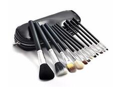12 PCs Premium Quality Goat Hair Black Cosmetic MakeUp Brush Set With Black Bag