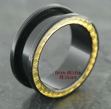 Kunststoff Piercing Ohr BIG Tunnel Black Carbon Goldline UV verschiedene Größen