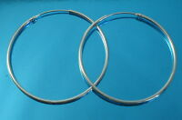 Solid 925 Sterling Silver 35 mm Plain Round Hoop Sleeper/Earrings Jewellery
