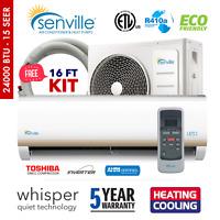 24000 BTU Ductless AC Mini Split Air Conditioner and Heat Pump 15 SEER 2 TON